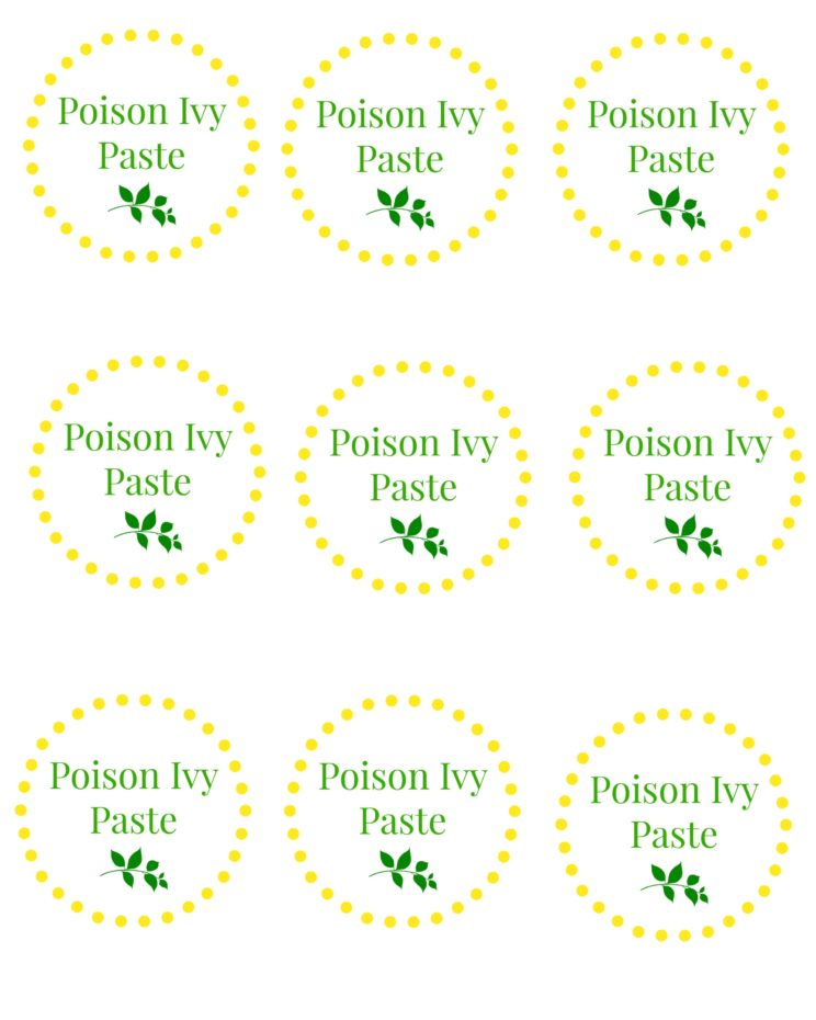 Poison Ivy Paste Labels